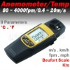 Digital Anemometer Thermometer Speed Temperature Meter