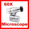 Mini 60X Microscope with 3-LED Illumination + Money/Currency Detecting With a faux leather pouch