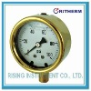 Mining pressure gauge with forged brass case, liquid filled