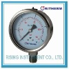 Stainless steel pressure gauge, crimped ring, liquid fillable